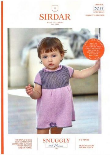 Sirdar 5266 - Baby's Dress & Shoes in Snuggly 100% Merino 4 Ply Knitting Pattern  16- 22 in
